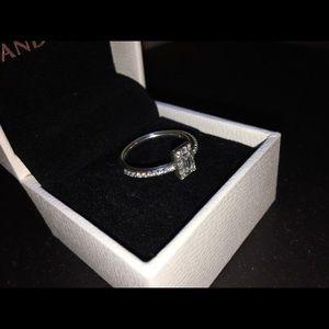 Pandora Square Halo Ring